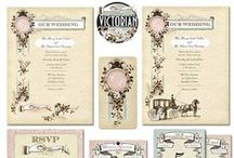 Victorian Wedding Invitations / Victorian Style Wedding Invitations. Turn of the century engravings are featured as a romantic accents on this invitation. The elements of the design are in sepia ink adding to the vintage appeal of the invite. The faux paper stock texture imitates a hand-made look that when printed will have an old world effect. The invitations come in two styles, an engraving of two hands exchanging rings, and a horse and carriage collecting a bride.