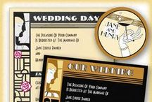 """Art Deco Wedding Invitations / This Art Deco Vintage Wedding Suite includes invitation designs in multiple color choices, Save The Date Cards, matching RSVP cards, Enclosure cards, Thank you cards, envelope stickers and postage stamps and even a guest book.  I can just hear Cole Porter singing """"Let's Misbehave""""! Request that your guests wear vintage clothes and have a Speakeasy Style reception!  Imagine your bridesmaids all in beaded flapper dresses, and the groomsmen in vintage tuxes with spats."""