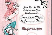 """1950s Style Wedding / Our Fabulous Fifties Wedding Invitations are great for a 1950's Rock and Roll, Rockabilly, Sock Hop, """"Grease"""", or """"American Graffiti"""" theme wedding, or for any couple that loves mid-century modern design, atomic age, """"Mad Men"""" and that wonderful 1950s style.  Have a memorable 1950s style wedding with a swing dance reception! Everyone will be wanting an invite to this shindig! This 1950s Wedding Invitations collection offers six choices of color scheme!"""