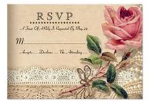 Vintage Rose Wedding Invitations + Bridal Shower / These gorgeous Vintage Rose Wedding Invitations feature an old world illustration of pink roses, over a lace background and a touch of antique pearls. Customize this invitation and all of the elegant components with your own name, dates and words.