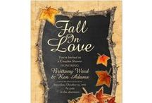 Fall Wedding Invitations | Fall Shower Invitations / This gorgeous Fall Wedding invitation features a vintage Mason Jar glowing with candle light and Fall foliage. The perfect invitations for an Autumn wedding and celebration. Customize this invitation with your own name, dates and words. Wedding Invitations