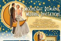 Romantic Wedding Invitations / Romantic Moonlight Wedding Invitations in an Art Deco Style. See all of the wonderful wedding components to customize your wedding suite yourself. Includes Save The Date too!
