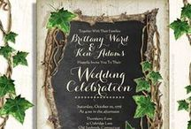 Ivy Garden Wedding Invitations / This elegant Ivy Garden Wedding invitation Suite features a vintage chalkboard framed with branches and English Ivy and grape vines. The perfect invitations for a garden wedding or a vineyard wedding. Customize these invitations and matching components with your own name, dates and words.