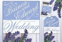 Lavender Wedding Invitations / Lavender Wedding Invitations Collection. It's lovely script type will set the tone for an elegant Wedding. A gorgeous Invitation design with natural lavender flowers and rustic wood texture. Carry a bouquet of lavender, add a sachet favor at each table setting and fresh Lavender centerpieces, for a scented wedding that will never be forgotten. #purple wedding