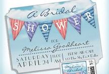 Watercolor Bunting Shower Invitations / Watercolor Bunting Shower Invitations - A festive watercolor bunting waves over a clear blue sky to announce the upcoming bridal shower! A dainty and fresh design with a springtime or summery feel. Customize the text to suit your bridal shower or wedding shower.