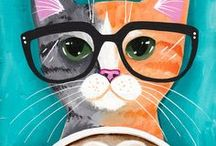 Cat Art / Masterful cat art by cat lovers from all over the world. We own none of these. #illustrations #paintings #cartoons #cats