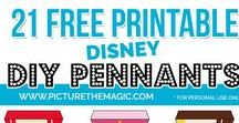 """Disney Pennant Banner / DIY DISNEY PENNANT BANNER TUTORIAL  I made these Disney character pennants to decorate our stateroom door for a recent Disney cruise.   You could use them for any kind of Disney decoration. (Princess party, anyone?)  And now, I'm making them available to you FREE if you want them!  Each banner is 6"""" x 8"""". Making your own pennant banner is sooooo easy.  Read my step-by-step tutorial on How to Make Your Own Disney Pennant Banner here: http://www.picturethemagic.com/disney-pennant/"""