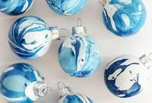 Holiday Hues of Blue / Hues of Blue are becoming a trendy color theme for the Christmas season. Get inspired for your home holiday decor this year with this Hues of Blue board, and be sure to match your holiday greetings in blues, too!