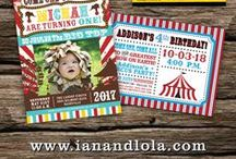 Carnival and Circus Birthday Invitations / Super cool, vintage and retro inspired carnival and circus style birthday party invitations.