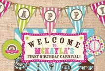 Vintage Style Party Invitations / Vintage and retro style invitations for kids parties, birthday parties, baby showers, bachelorette parties, engagement parties. Invitations for vintage style circus, train, carnival, mermaid and pirate and pool parties.