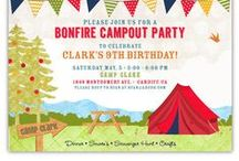 Summer and Spring Party Invitations / Summer and Spring Party Invitations: camping, glamping, ice cream, pool party, golf, pizza,  circus, carnival, bounce house, etc.