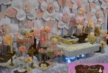 Chic Vintage Pink & Gold Candy Buffet with Smore's / www.sugarbunchcandybuffets.com Vintage Pink Candy Buffet with Smore's station. Paper Flower designed by http://www.blomespaperie.com/