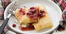 Breakfast and snacks with lingonberry jam