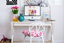 H O M E : Home Office / Beautiful desk areas and filing/storage systems for a creative space