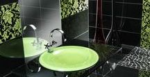 Glass tiles- bathroom