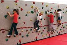 Traverse Climbing Walls / Traverse Walls are 8 or 10-feet high and climbers travel across the wall, rather than climbing only up. It's a great workout and so fun! Traverse Walls come in all sorts of styles.