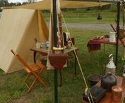 Lager / Camps / Zelte, Möbel, Werkzeuge und Ausrüstung für Lager vom Frühmittelalter bis zur Renaissance // Tents, furniture, tools and equipment for camps from early middle-ages to renaissance