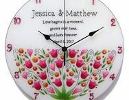 wedding gift ideas / Personalized, unique, hand-painted, silent glass wall clocks.