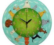 for children's room / These is a unique, hand-painted and 100% hand-made glass clocks and pictures. Ideal gift for children: new baby is born, christening, baby waiting, birsday...
