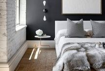 B e d r o o m s / a glimpse behind the doors of only the most stylish master and guest bedrooms; inspiration for furniture, color palette, bedding, design layout, and accessories.