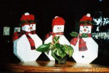 """Make Holiday Paver People / Different door-stop and/or book-end characters like Mr. & Mrs. Santa, Rudolph, Elves, Reindeer, and other holiday characters can be made with """"keyhole"""" style concrete pavers that can be made with our ABS plastic molds. / by Olde World Stone & Tile Molds, Inc."""