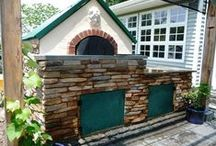 Outdoor DIY Fireplaces & Kitchens / Outside fireplaces, pizza ovens, kitchens, and outdoor patio living spaces using stone that can be made at home. See more ideas at:  www.TheMoldStore.com / by Olde World Stone & Tile Molds, Inc.