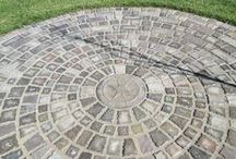 """DIY Concrete Paver Ideas / Different paver designs and styles, some of which can be made at home for pennies with our molds, concrete color,  and bags of concrete. Minimum 1.5"""" thickness for patios, and 2.5"""" thick for driveways recommended over a packed stone and sand base. Visit www.TheMoldStore.com for more information. / by Olde World Stone & Tile Molds, Inc."""
