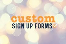 Sign Up Forms / Web and Facebook sign up forms are a great way to organically grow your subscriber database. Check out some examples that our designers have created for #iContact clients.  www.icontact.com / by iContact