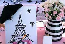 Paris party ideas / Paris, painting party, pink & black decor, Passport backdrop