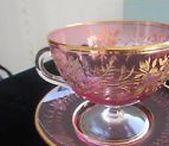 Glass-CUP and Saucer / Moser glass-kávové i čajové šálky a talířky-malované,ručně zdobené-email,kobalt,zlato