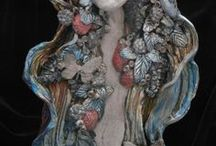 WALL HANGING-porcelan / porcelán hlavy-fantazie,Art