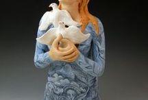 Pam STERN / texaská keramička-sochy figura,bysty-fantazie -hlína,porcelán-hrníčky,vázy