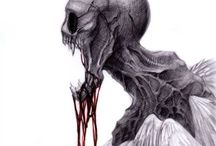 Monsters / Things that go bump in the night... Skin crawling artwork and legends.