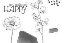 SU! Happy Watercolor / Inspirations gathered for use with SU! Happy Watercolor stamp set.