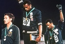 i love Olympics / It's one of those moments when sport ceases to be just sport - it assumes the task of being a vehicle of change and progress. The image of Tommie Smith and John Carlos raising a hand covered in a black glove with Peter Norman donning the Olympic Project for Human Rights badge, will be remembered as the most iconic image of protest at the Olympic games, but all 3 of them were ostracized after. It was only years later that their act was to be recognized as a demonstration for dignity.  / by Christine Whyte