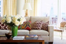 My House Beautiful Dream Living Room / Colorful accents, bold patterns, neutral walls, and lots of natural textures.