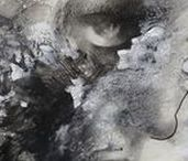drawing portrait | black & white | Rainier Boidin / Art by Rainier Boidin. A board of art and drawings. The portrait is elaborated with materials like charcoal, pencil, acrylic, oil, collage and ink. These black and white drawings focus on texture, rythm, negative space and interpretation.