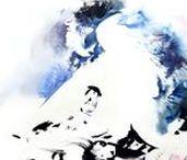watercolour on paper | figure | Rainier Boidin / Art by Rainier Boidin. Human figure, watercolour on paper. Abstraction, rhythm, interpretation, expression, negative shape