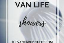 Van Life   Showers / Space saving shower ideas, tips and tricks to help you stay fresh while living the Van Life. Focus on vanlife, van conversion, camper, van-dwelling, van living & becoming a vanlifer.