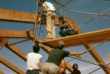 "Pavilion Construction at Taliesin West / Our Frank Lloyd Wright School of Architecture began in 1932, after Frank Lloyd Wright circulated a prospectus to an international group of distinguished scholars, artists, and friends, announcing their plan to form a school where architecture students, or apprentices, would ""learn by doing."" Here's photos of apprentices from 1952 ""learning by doing,"" as the build the Pavilion Theater at Taliesin West in Scottsdale, AZ.