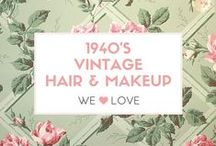 Vintage Hair & Makeup 1940s / Authentic Vintage Hair and Makeup looks from the 1940s. Inspirational images from Old Hollywood and family photos. #Vintage #Beauty #Hair #Makeup #Retro #Glamour