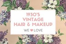 Vintage Hair and Makeup 1930s / Authentic Vintage Hair and Makeup looks from the 1930s. Inspirational images from Old Hollywood and family photos. #Vintage #Beauty #Hair #Makeup #Retro #Glamour #1930s #1930