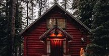 Cabin ideas / Cute small wooden houses surrounded by pines and elves (sometimes) .