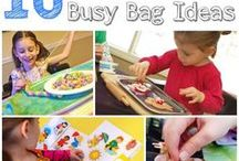Busy bag ideas / Lots of ideas for activities to make your own busy bags. They are brilliant for keeping the kids entertained in places such as restaurants, church and on road trips or holidays.