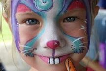 Face Painting Ideas for Children / Face painting ideas for children to use at home, for a party, for fundraising or a group themed session, Simple and easy face art and cheek art for boys and girls, from pretty to scary faces.