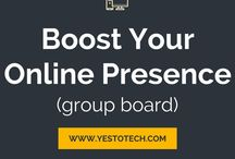 Boost Your Online Presence (Group Board) / Come pin with us! This group board is for online entrepreneurs, bloggers, and small business owners to share tips and tricks on blogging, business, social media, website creation, traffic generation, e-mail marketing, online courses, and SEO strategies, to ultimately boost your online presence. RULES: vertical images only, maximum 3 pins per day, and pin the content of others. WANT TO JOIN? Follow me (yestotech) and all my boards, and send me a message with your username and e-mail.