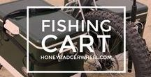 Fishing Carts / The fishing cart gets you out to the surf or the pier with not only all your gear but two coolers so you can keep your fish from your food. Or Jeff says fish from your beer, but that's Jeff.