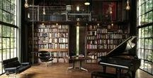 Library / Library shelves, cosy nooks, stacks to the ceiling, winding stairs,  rain-streaked windows, bliss.