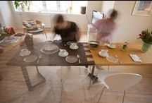 Furniture design / Extendable two-colour dining table in bamboo.
