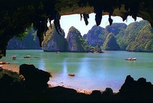Halong Bay Caves - Grottoes / Halong bay - Vietnam - the world natural heritage, with like thousand islands has created a lot of beautiful scenery, beautiful beaches. Especially the limestone cave system known as heaven cave, amazing cave, dau go cave, thien canh son cave, painting heaven cave ... Each cave has its own beauty with a thousand fairy tales, bizarre shapes ...